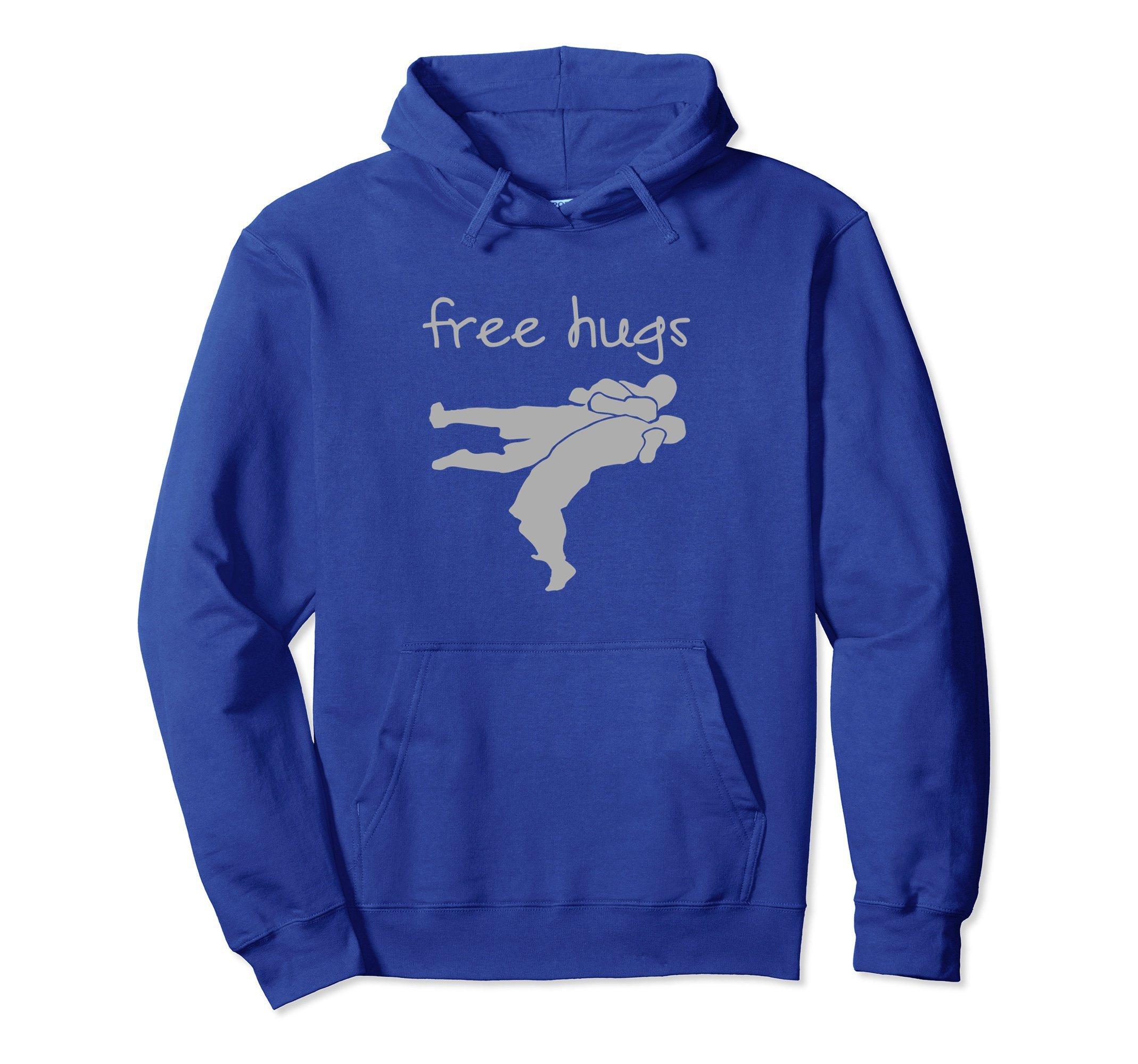 Unisex Free Hugs Funny Wrestling Hoodie Small Royal Blue