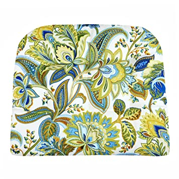 patio chair cushion valbella blue and white floral size large indoor outdoor - Lawn Chair Cushions