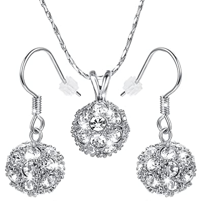 Yoursfs Crystal Jewellery Sets 18ct White Gold Plated Heart Shaped for Women Valentine Gift TxtvOswu