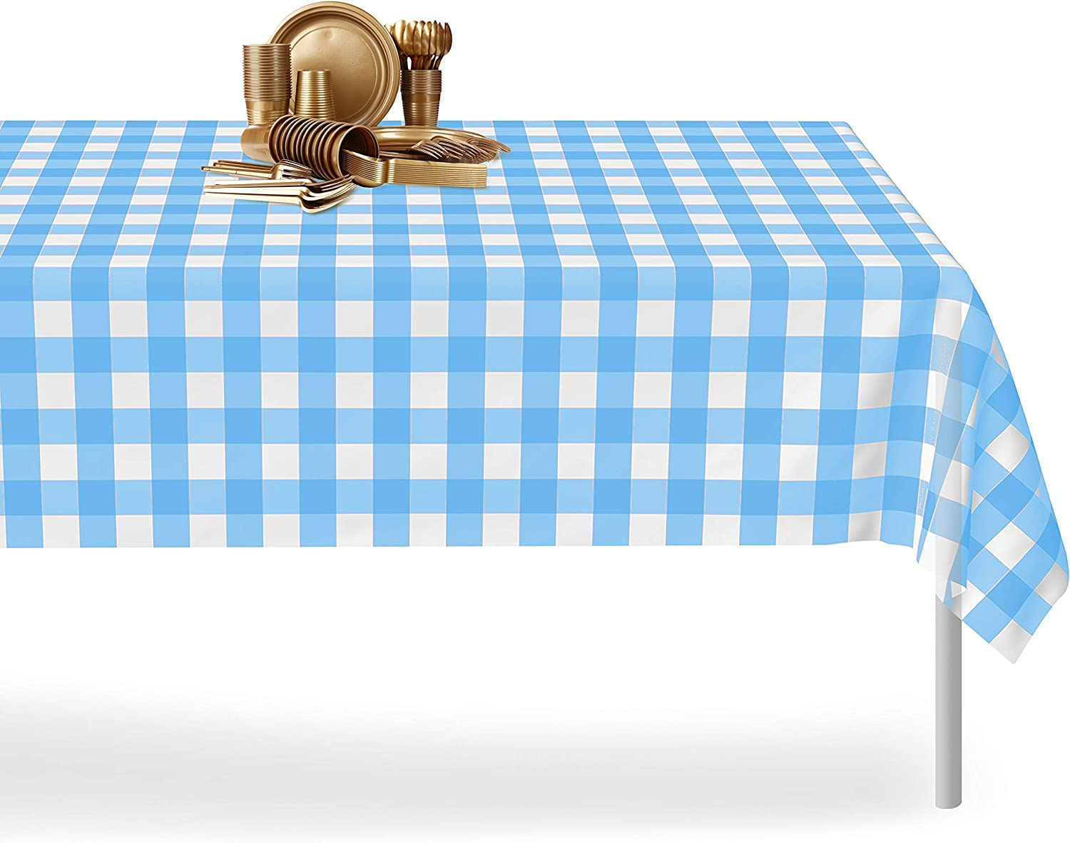 5 Mts Of Khaki Green Gingham Check Vinyl Table Cloth Waterproof Covering
