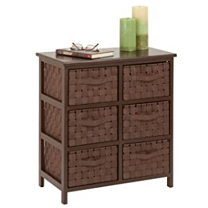 Honey-Can-Do 6-Drawer Storage Chest with Woven-Strap Fabric, Brown, 24-Inch