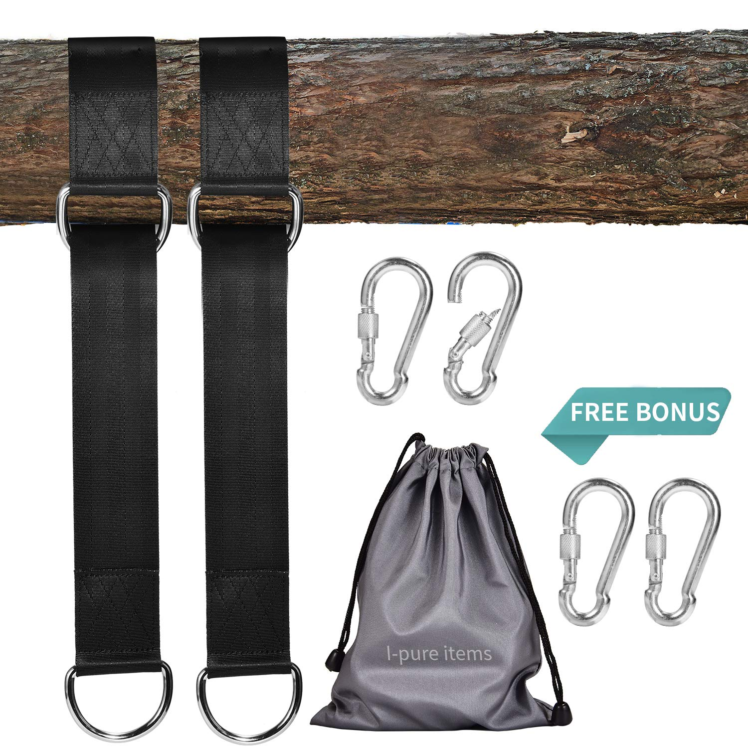 I-pure items Hammock Straps (5ft) - 2 PCS Tree Swing Straps Hanging Kit Holds 2200 LB with 4 Heavy Duty Carabiners - Camping Hammock Rope Straps Accessories - Compact & Easy to Set Up by I-pure items