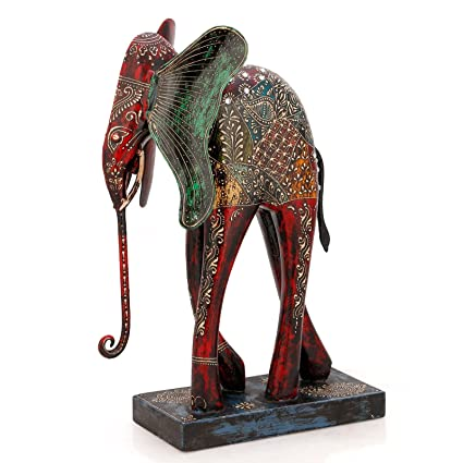 Collectible India 12 Inch Big Elephant Statue Decorative Animal Showpiece  Idol Wooden Painted Figurine Decor Gifts