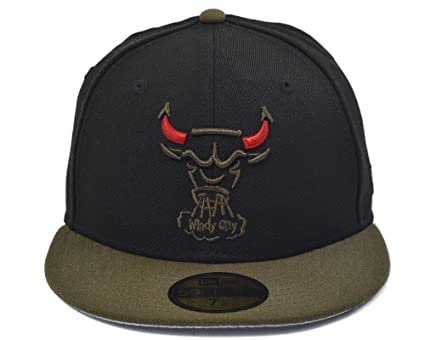 New Era 59FIFTY Chicago Bulls NBA HWC Basic Cap Black Khaki Size 7 1 ... 15ceac7c409