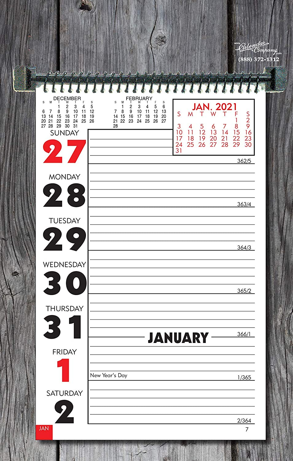 "CALENDAR COMPANY 2021 Weekly Planning Wall or Desk Calendar with Memo Space and Almanac info 11"" x 7"" Made in The USA"