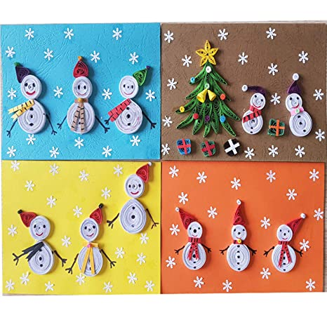 Children Christmas Cards.Amazon Com Set 2 Handmade Quilling Christmas Cards From