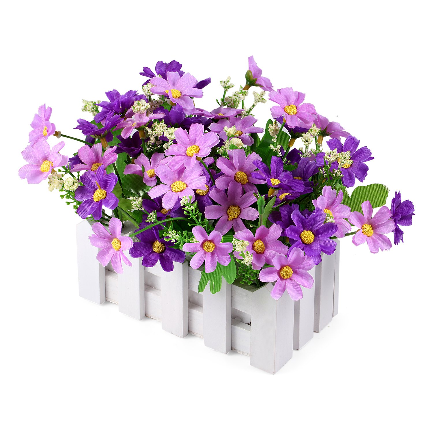 Louis Garden Artificial Flowers Fake Daisy in Picket Fence Pot Pack - Mini Potted Plant (Daisy-Purple)