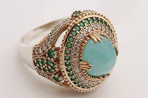 Emerald Topaz Ring Ladies Ring Turkish Handmade Silver Ladies Ring 925k Sterling Silver Ring Ottoman Ring Handmade Ring Women