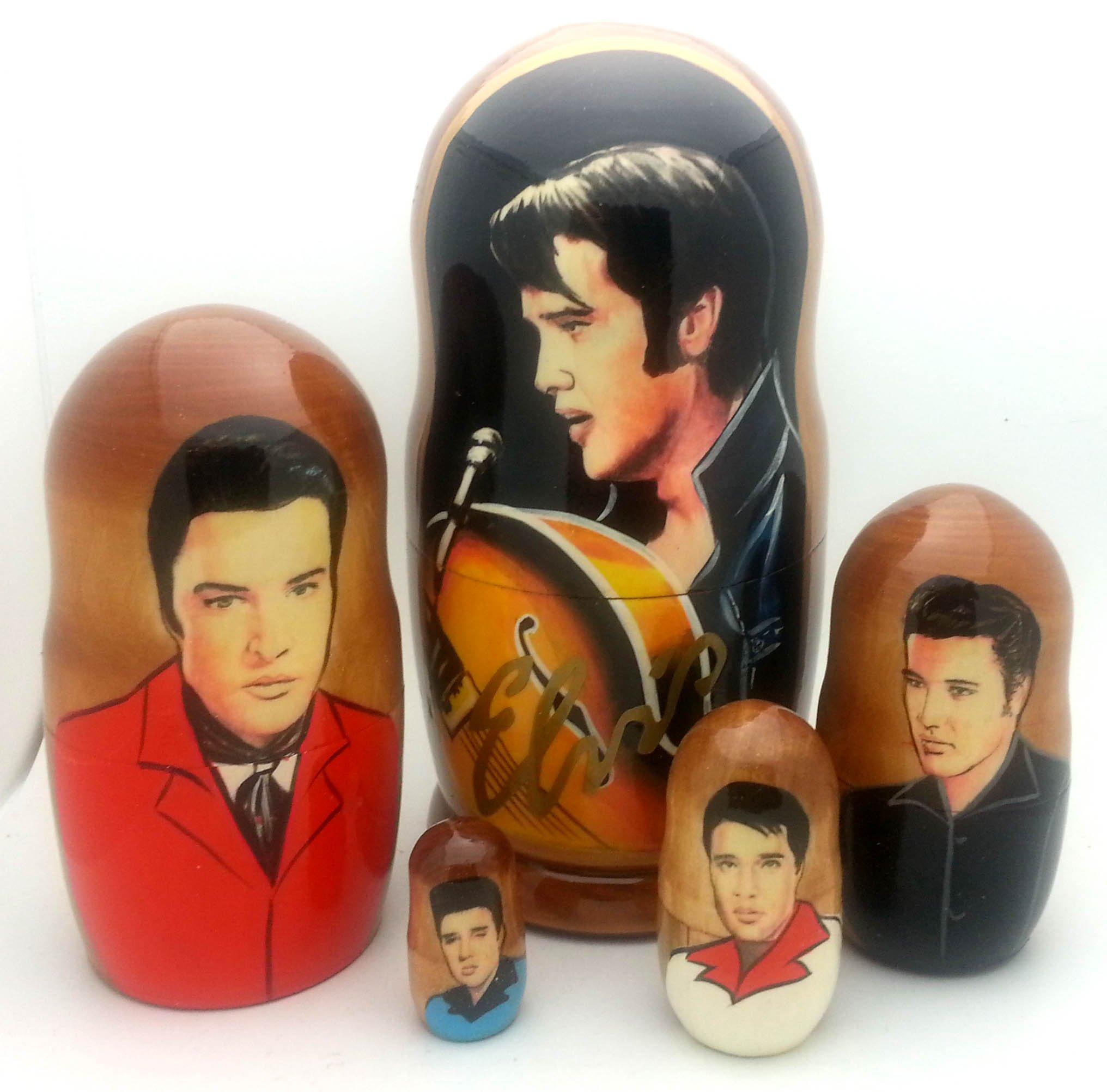 Elvis Presley Russian Nesting dolls 5 piece DOLL Set 7 tall