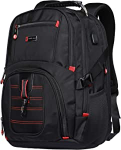 Yuheng Extra Large Backpack Big College 17 Inch Laptop Bag with USB Charging Port Men Women for Travel Business Hiking School Black