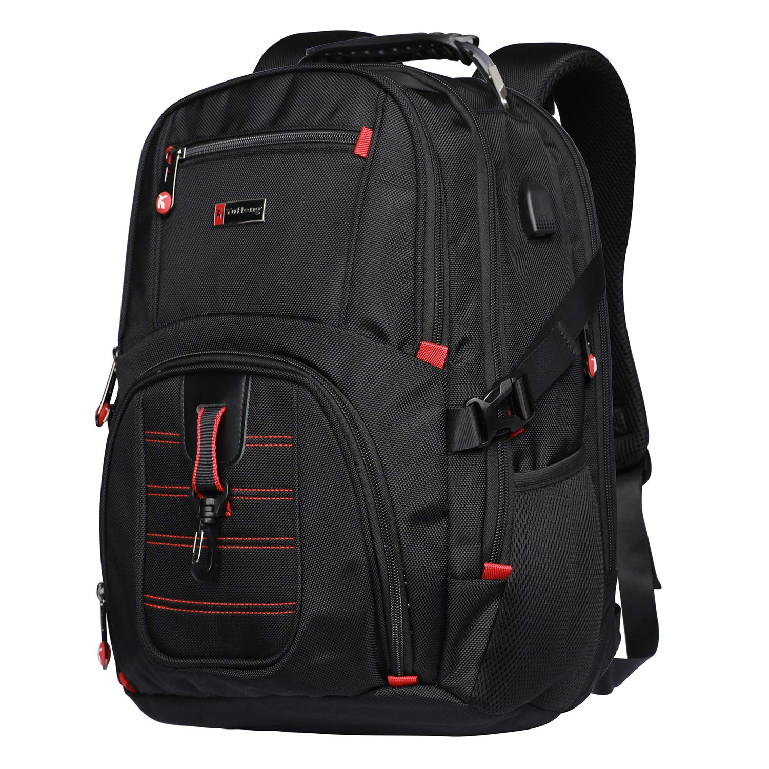 Yuheng Extra Large Backpack Big College 17 Inch Laptop Bag with USB Charging Port Men Women for Travel Business Hiking School Black by Yuheng