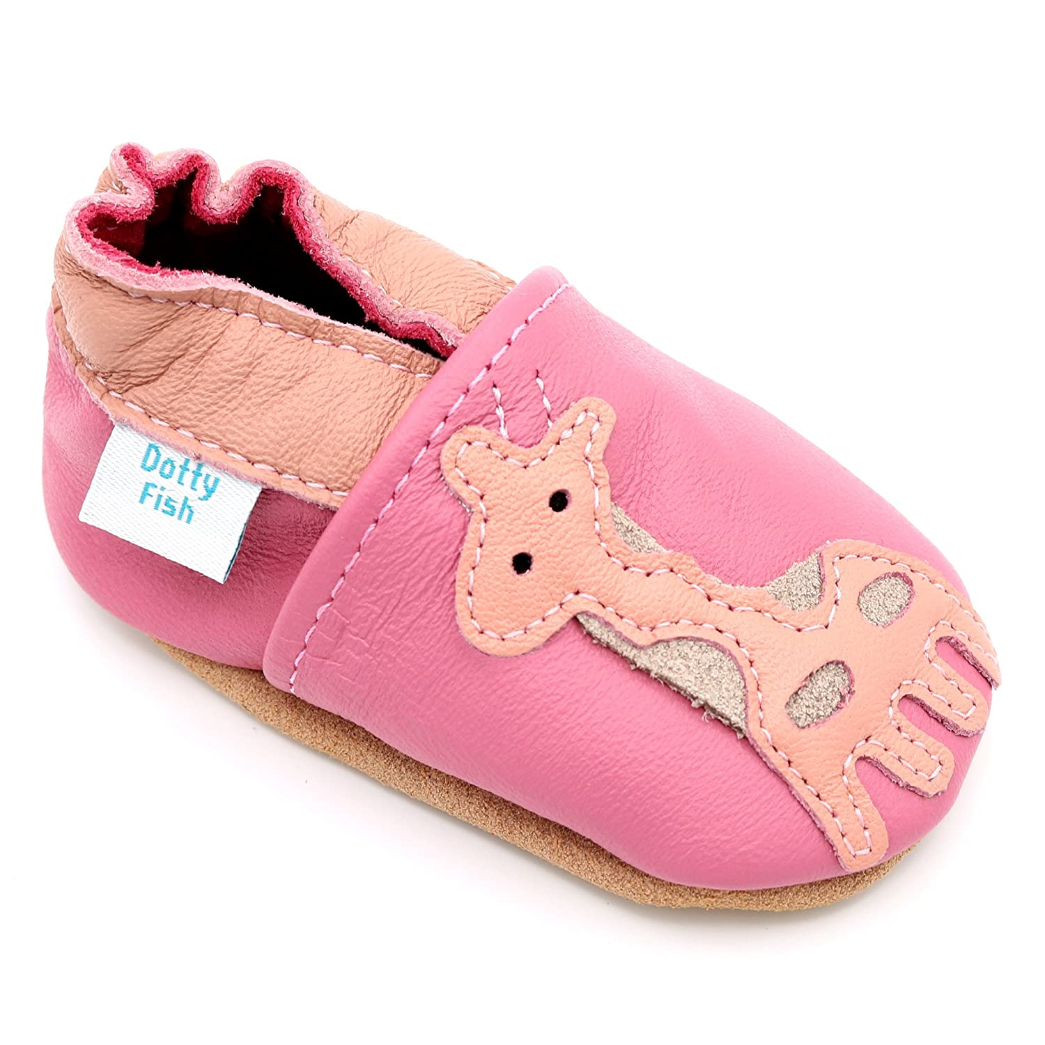 Dotty Fish Soft Leather Baby Shoe. Toddler Shoes. Non Slip. Pretty Bird, Owl, Giraffe and Butterfly Designs for Girls. Newborn to 3-4 Years. FBA-BIRDS-P