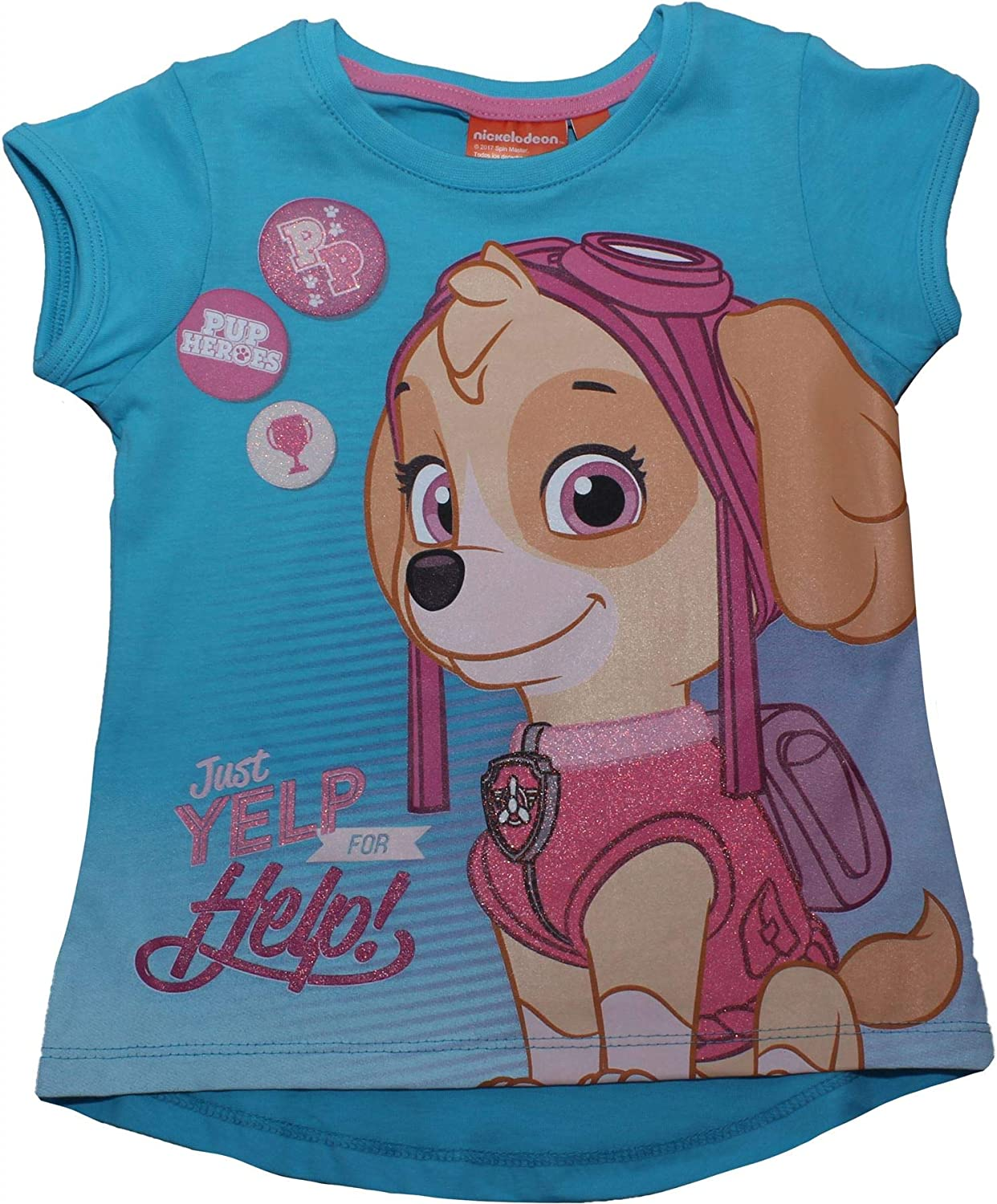 Paw Patrol Girls Pink Short Sleeve T-Shirt Sky and Everest