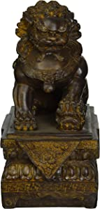 Design Toscano Female Chinese Guardian Lion Foo Dog Asian Decor Statue, 9 Inch, Polyresin, Bronze Finish