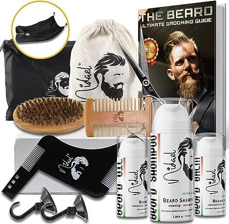 NIDAEL Kit profesional para el cuidado de la barba 9 en 1, champú, Bálsamo, aceite, orgánico y natural, tijeras, cepillo, peine, bolsa de lona portátil, delantal con ventosas, regulador.: Amazon.es: Belleza