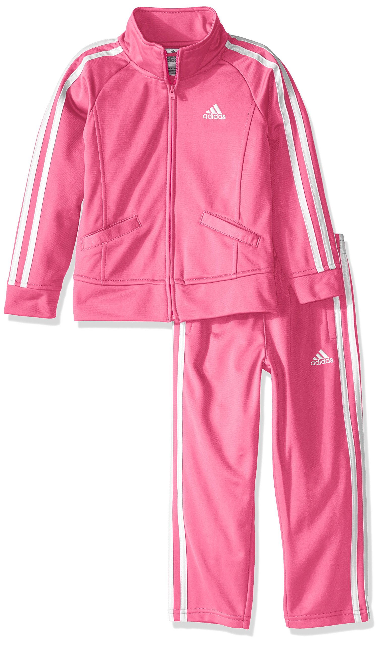 adidas Little Girls' Tricot Zip Jacket and Pant Set, Pink Basic, 5 by adidas