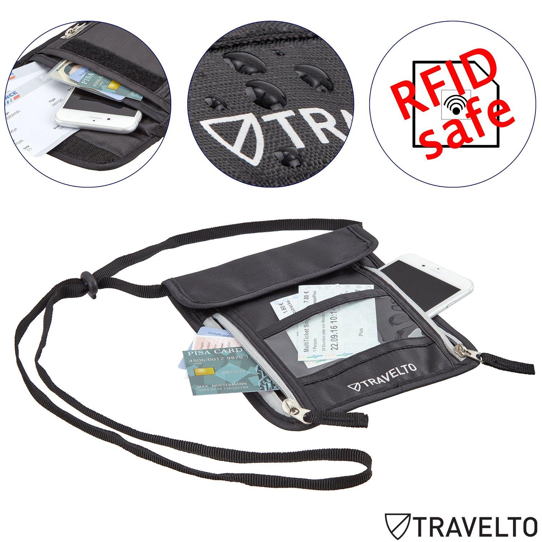 TRAVELTO Poche Cou Unisexe avec bloqueur RFID Poche Poitrine//Sac de Poche Poitrine//Portefeuille de Voyage//Sac de Documents