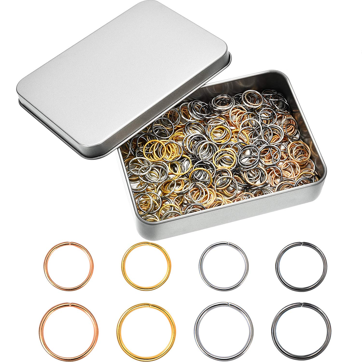 TecUnite 400 Pieces Hair Rings Braid Rings Hair Hoops Hair Clips Jewelry with a Storage Box, 4 Colors, 2 Sizes