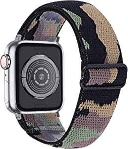 MEFEO Adjustable Elastic Bands Compatible with Apple Watch Bands 38mm 40mm 42mm 44mm, Soft Stretch Bracelet Replacement for iWatch Series 6/5/4/3/2/1&SE Women Girls (Camouflage, 42mm/44mm)