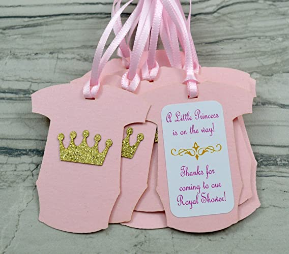 Amazon Com Princess Bodysuit Baby Shower Party Favor Gift Tags