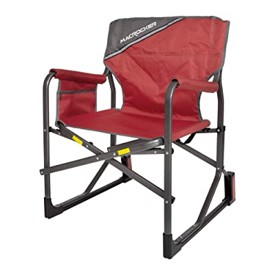 Mac Sports C2163A-100 MacRocker Foldable Outdoor Rocking Chair | Collapsible Folding Rocker Springless Rust-Free Anti-Tip Guard for Camping Fishing Backyard | Weight Capacity up to 225 lbs - Red : Garden & Outdoor