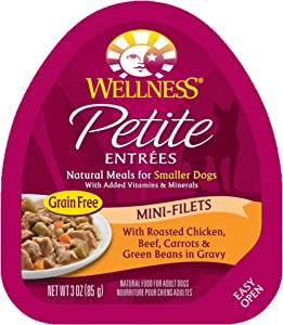 Wellness Petite Entrees Mini Filets Grain Free Natural Wet Small Breed Dog Food, Roasted Chicken & Beef, 3-Ounce Cup