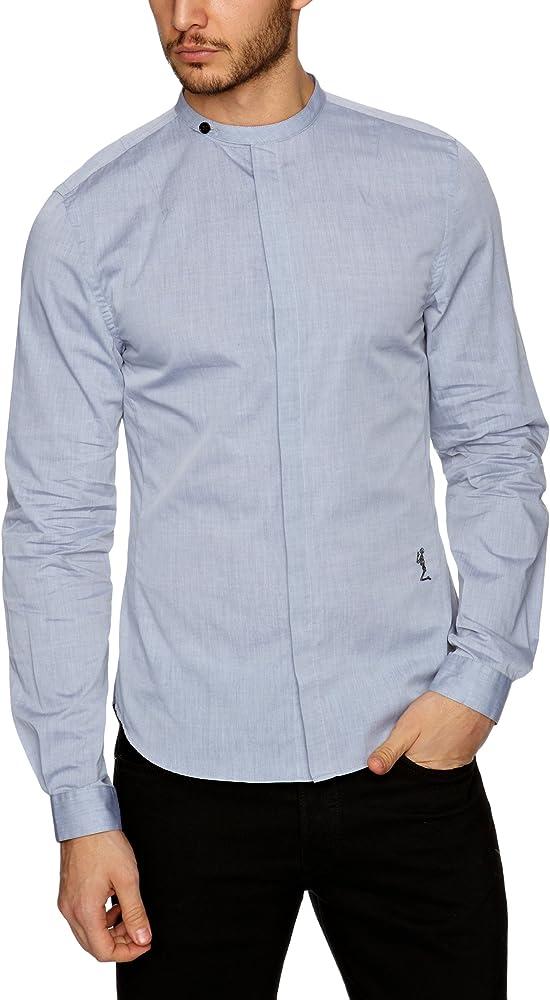 Religion - Camisa con cuello mao de manga larga para hombre, talla 39/40, color gris: Amazon.es: Ropa y accesorios
