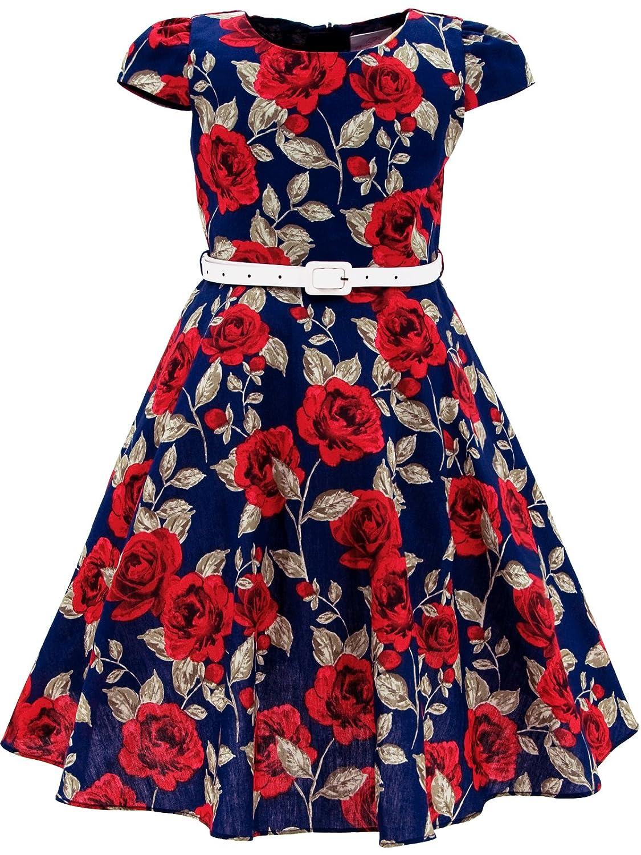BONNY BILLY Girls Classy Vintage Floral Swing Kids Party Dress With Belt BZM00598