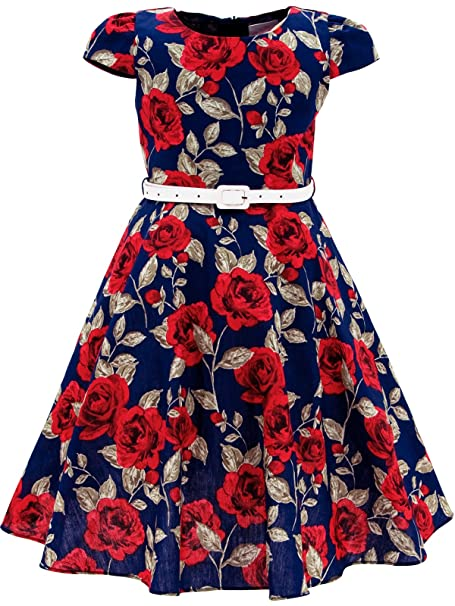 2b6e890a63b7 Bonny Billy Baby Girls Vintage Style Floral Swing Red Kids Party Dress with  Belt 3-
