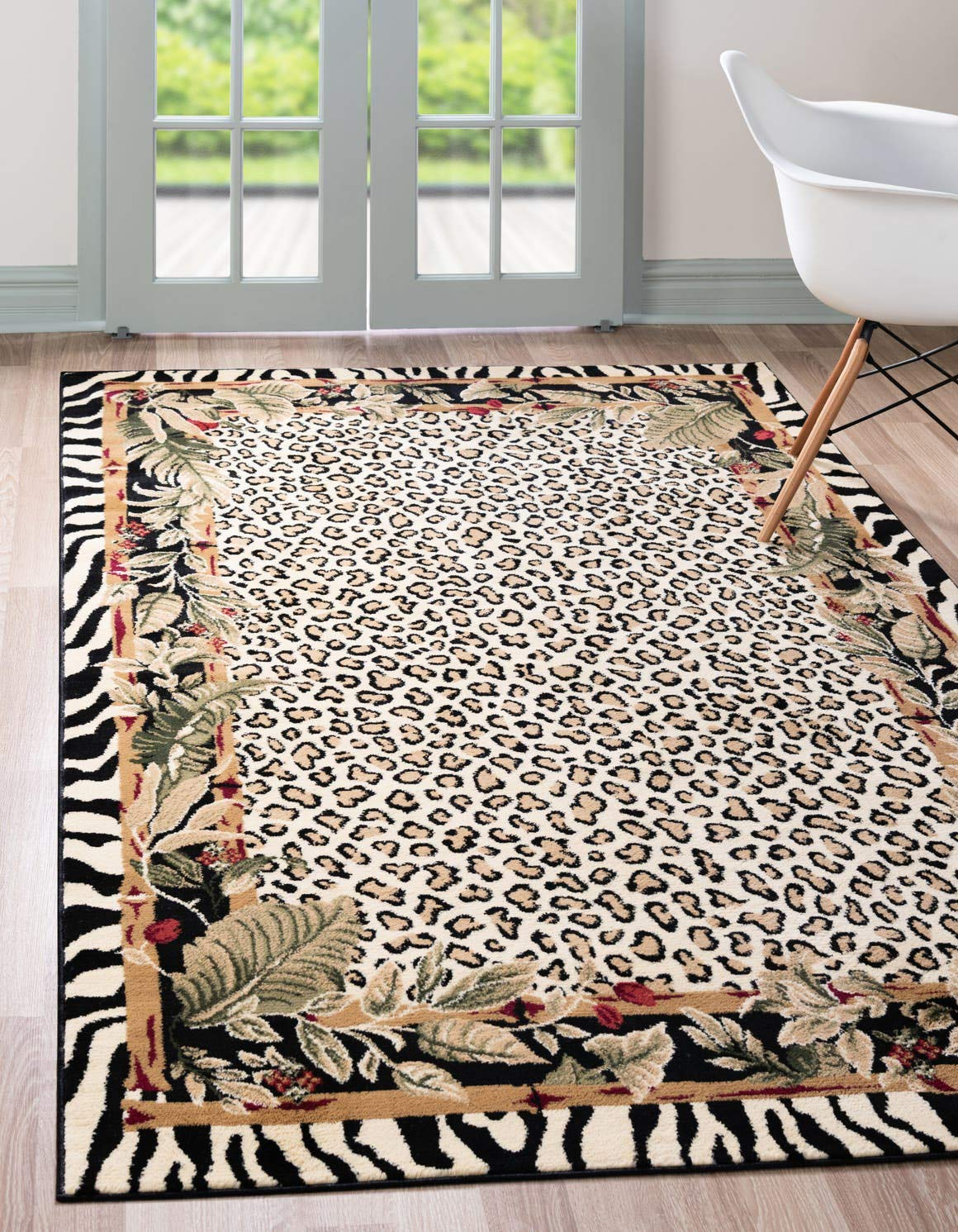 Unique Loom Wildlife Collection Cheetah Botanical Border Animal Print Cream Area Rug 3 3 x 5 3