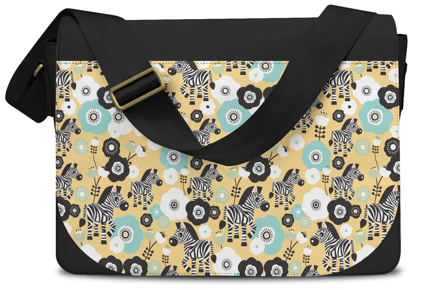 Zebra Blossoms Yellow - One Size Messenger Bag - Messenger Bag by Queen of Cases (Image #1)