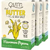 Quinn Snacks Microwave Popcorn - Made with Organic Non-GMO Corn - Great Snack Food for Movie Night {Butter & Sea Salt, 3 Boxes}