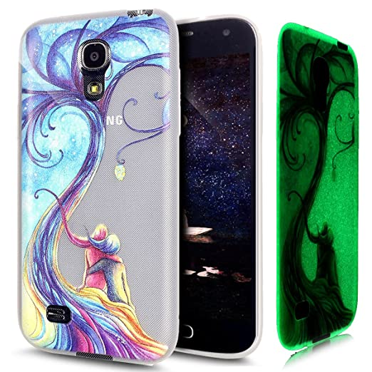 Kompatibel mit Galaxy S4 Mini Hülle Schutzhülle,[Leuchtende Transluzent] Transparent TPU Silikon Hülle Case Tasche Silikon Ca
