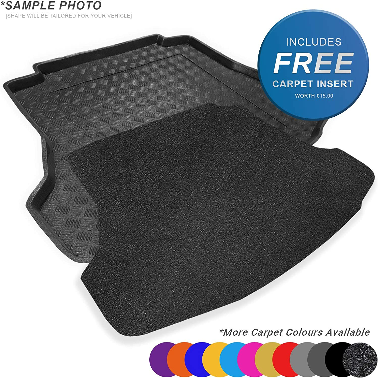 Mat FREE Charcoal Velour Carpet Insert Tray Fully Tailored PVC Boot Liner