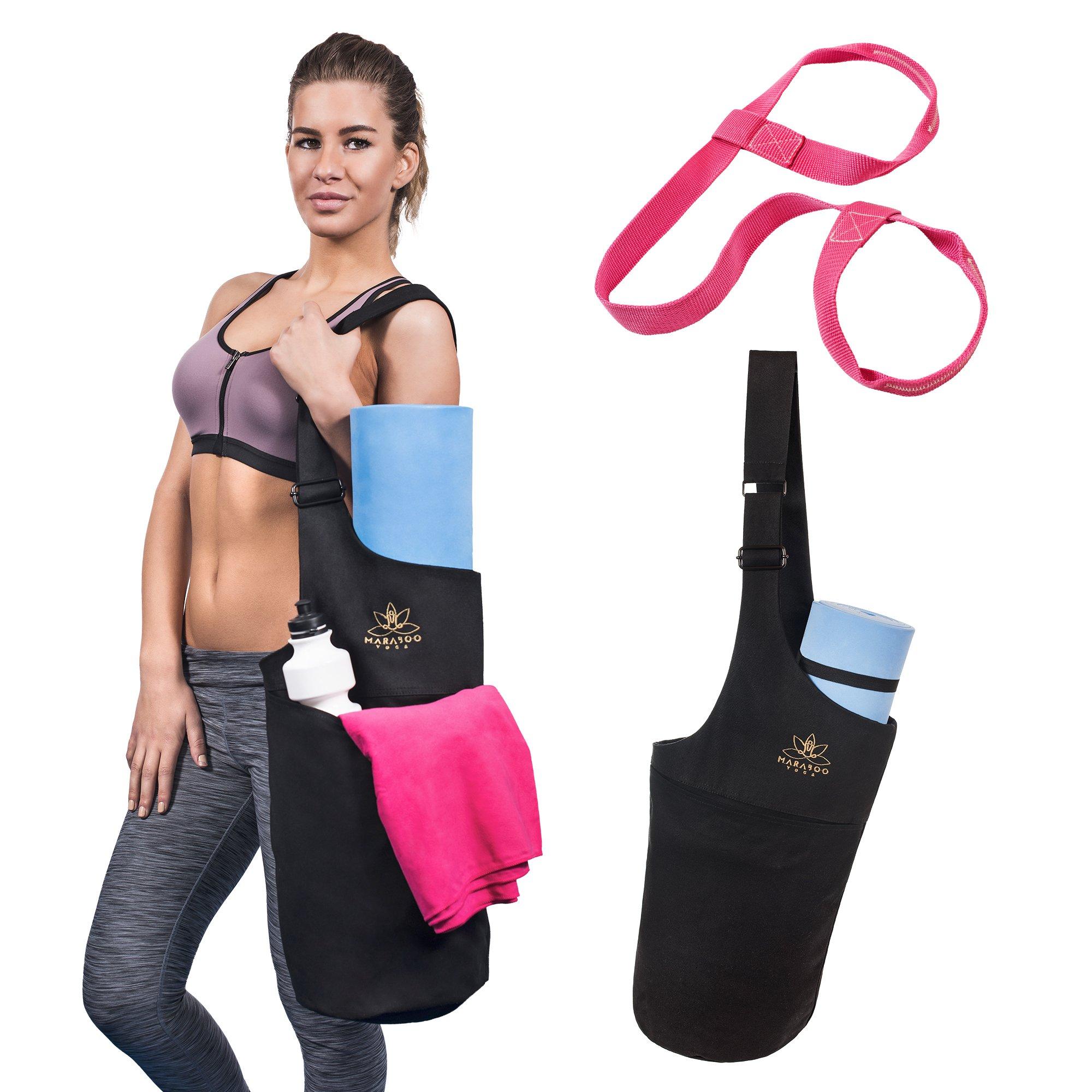 Maraboo Yoga Mat Bag - Yoga Mat Carry Bag With Yoga Carrier Strap and Free Ebook- Adjustable Shoulder Strap - Storage Pockets and Water Bottle Holder