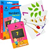 Star Right Numbers Flash Cards with Matching Art, 36 Cards, with 1 Ring, for Ages Pre-K & K