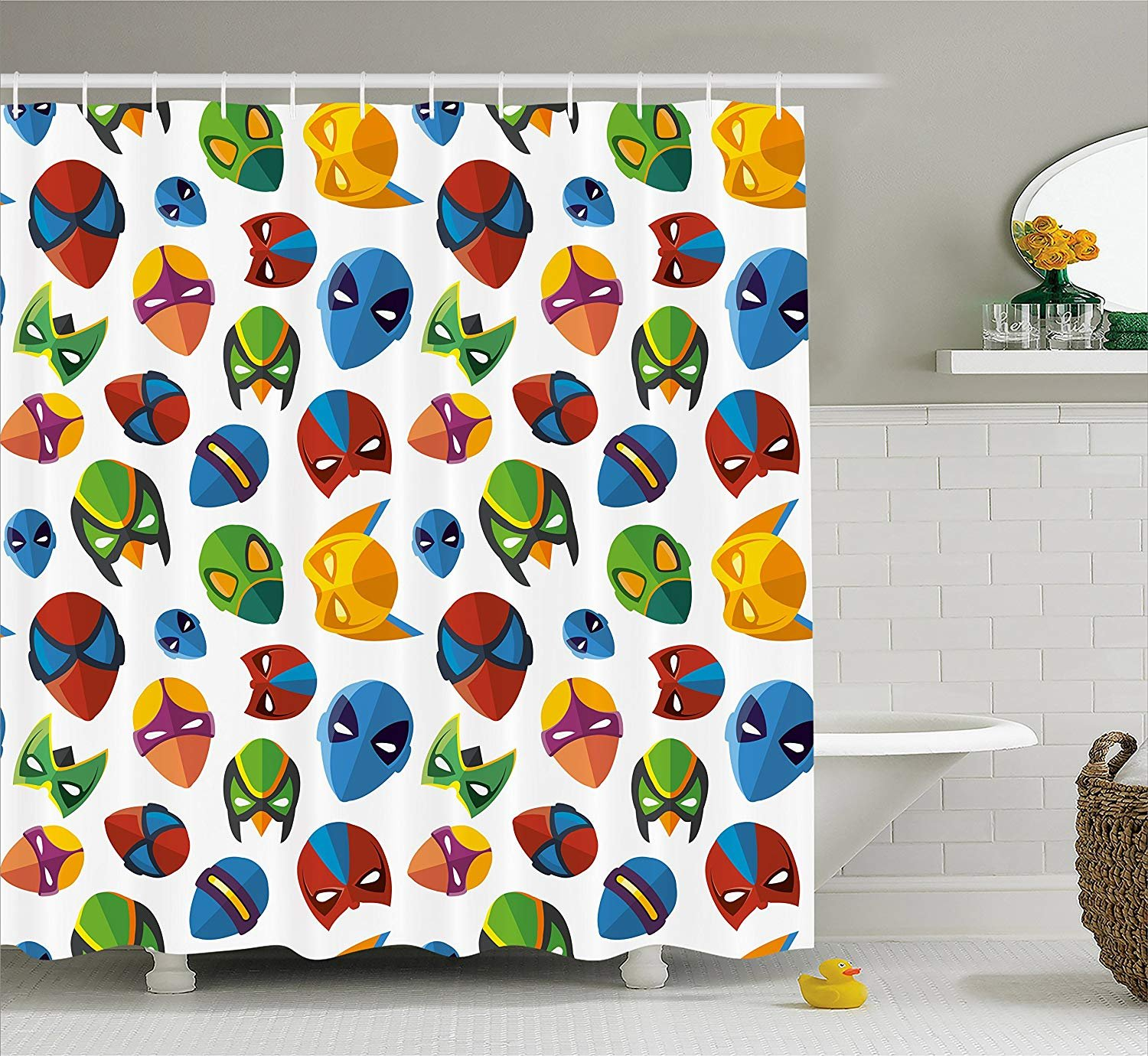 Eurag Superhero Shower Curtain Legendary Cartoon Character Masks Flash Batman Spider Man Comic Costume Print Fabric Bathroom Decor Set With Hooks