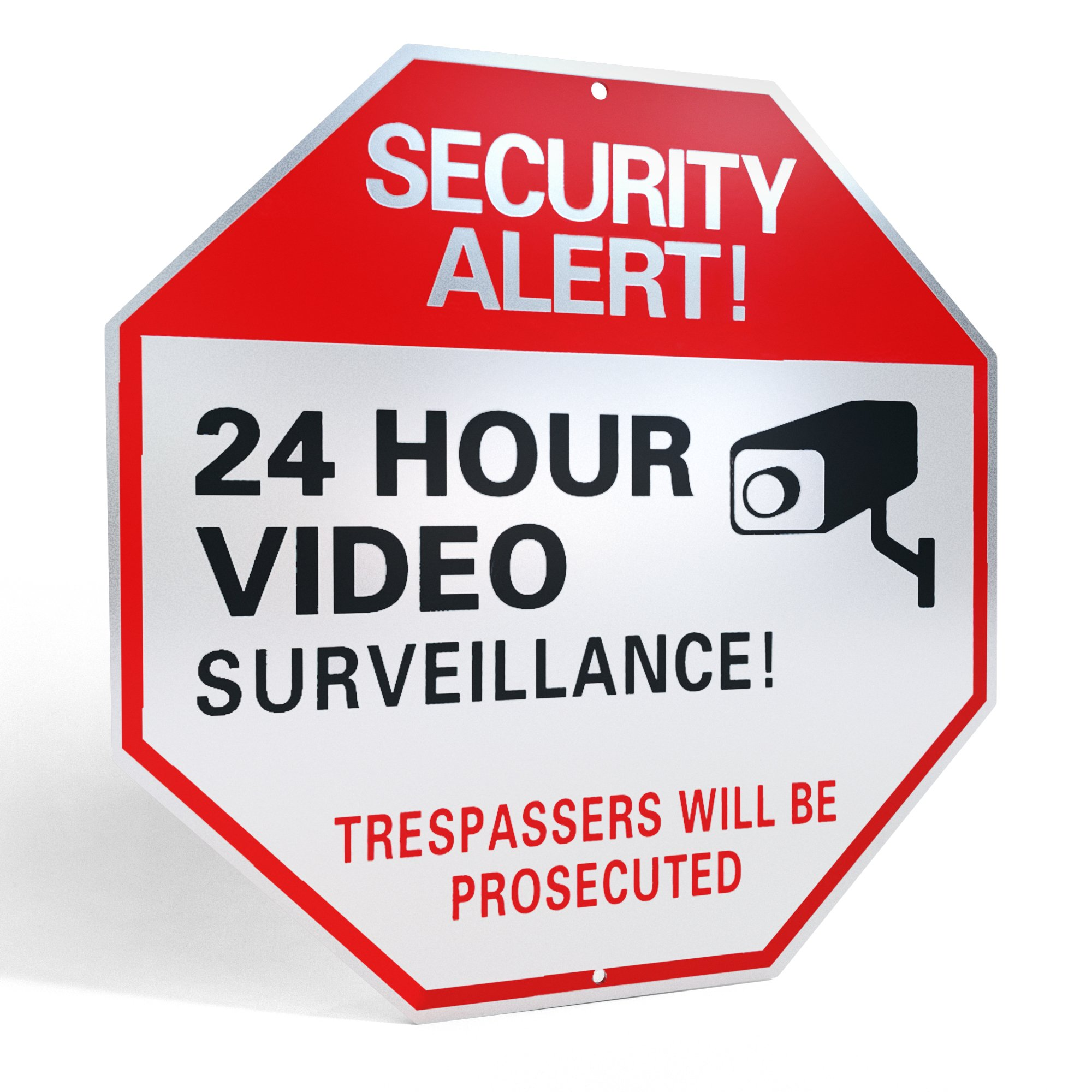 """L&C Source Video Surveillance Sign- Reflective Business/Home Security Signs with UV/Waterproof layers and 40mil Thick Rust-free Aluminum Metal 12"""" X 12"""" Comes with SCREWS"""