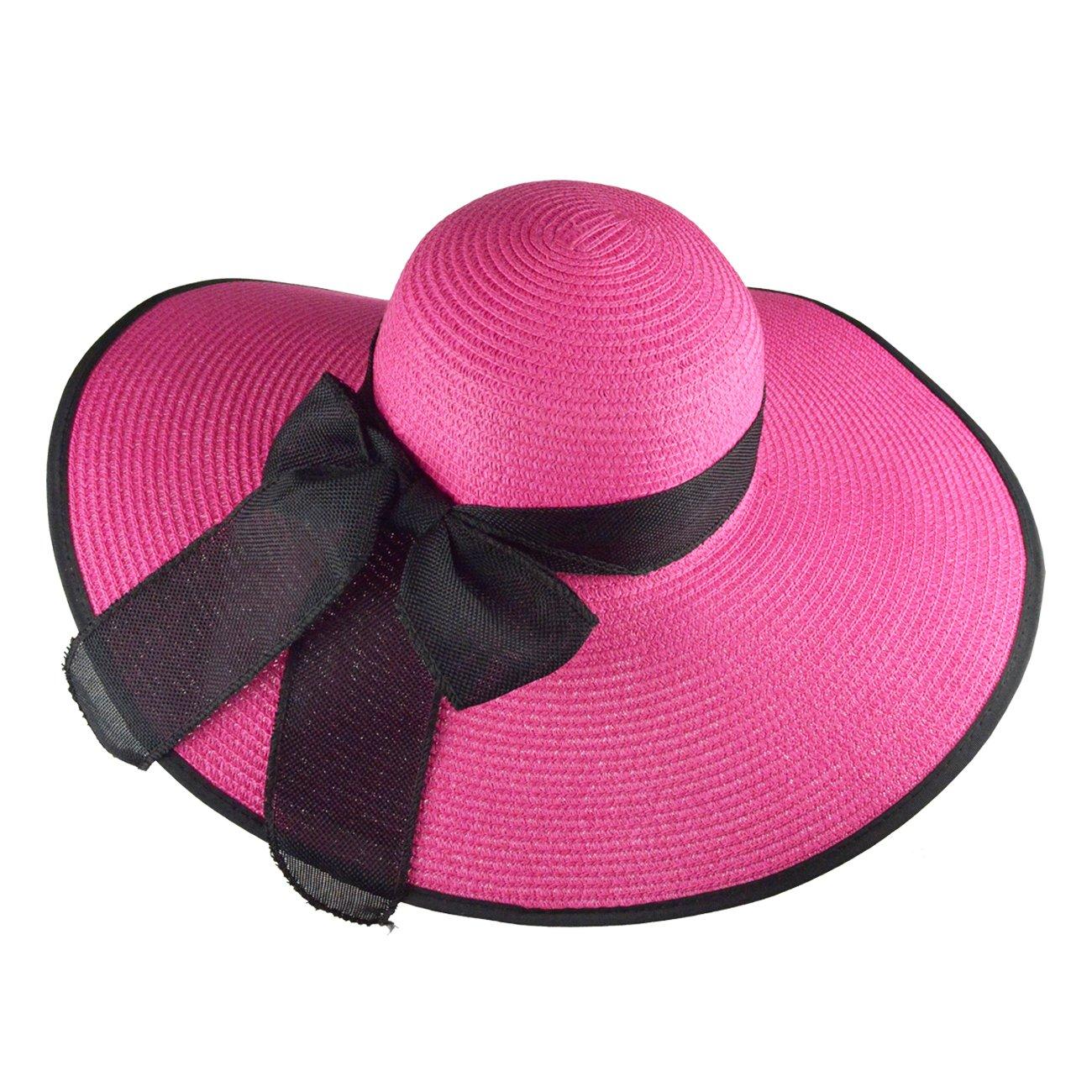 417a3cd690687 DRESHOW Beach Sun Hat for Women Wide Brim Floppy Straw Sun Hats Roll up  Packable UPF
