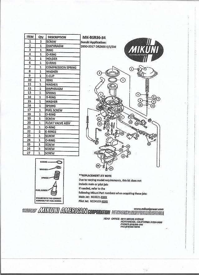 Amazon com: Genuine Mikuni Carb Rebuild Kit for 2000-2017 Suzuki DRZ