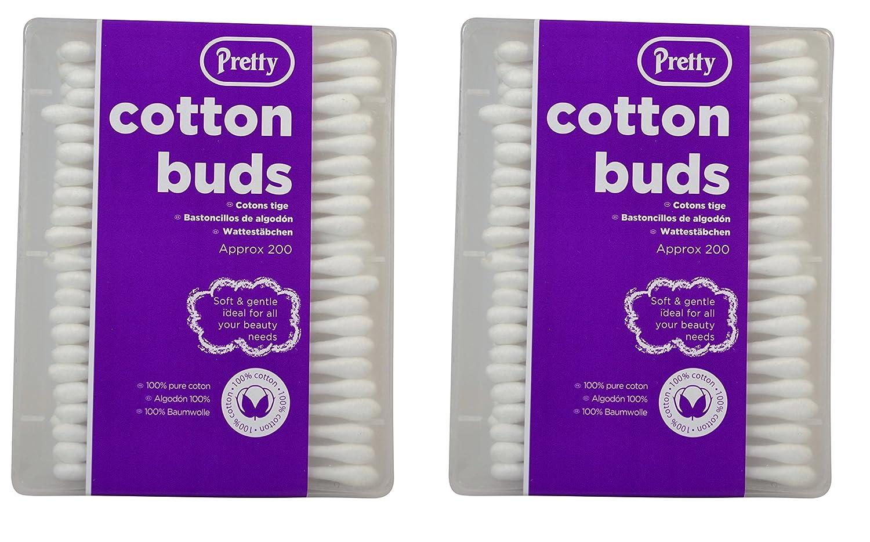 2x Pretty Cotton Buds 200s (400 Buds)