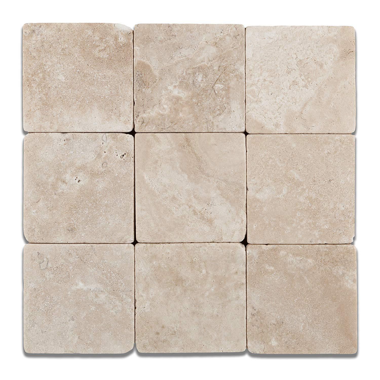 Durango Cream (Paredon) Travertine 4 X 4 Field Tile, Tumbled - 1 sq. ft.(9 pcs.)