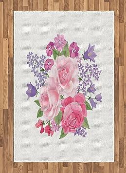 Mauve Zone Tapis Par Lunarable, Pivoines Roses Et Lys Arrangement Avec  Romantique Saint Valentin Thème, ...