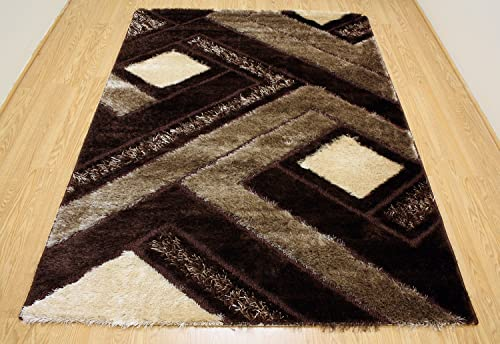 Royal Collection Brown and Beige Contemporary Geometric Abstract Design Shaggy Shag Area Rug 6018 3 3 x5