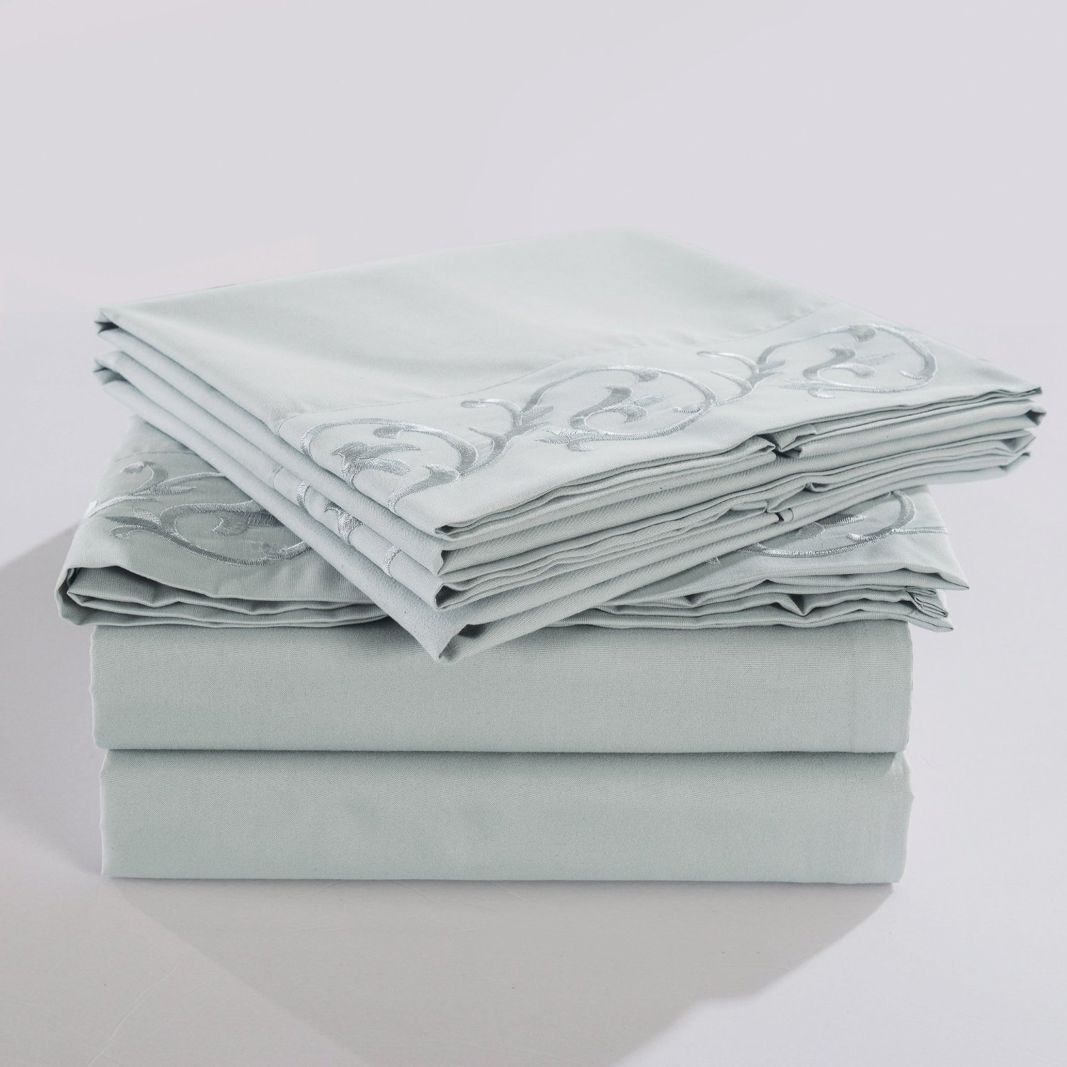 4-Piece Bed Sheet Set Queen, Light Grey Scroll