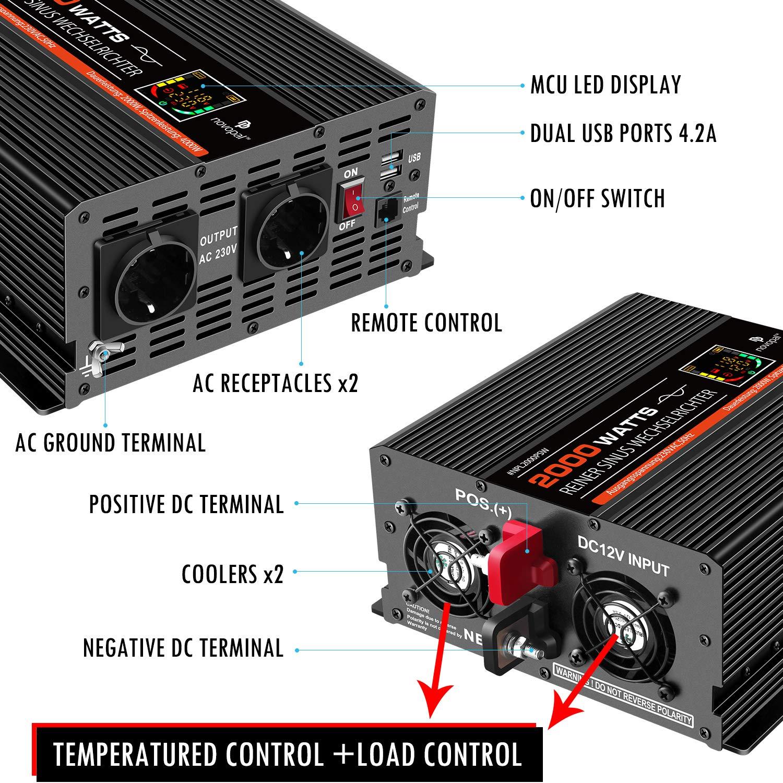NOVOPAL Reiner Sinuswellen-Wechselrichter 2000w 12V DC auf 230V AC-Inverter Konverter mit 2 EU Steckdose und 2 USB-Port-LCD-Display und Spitzenleistung 4000 Watt