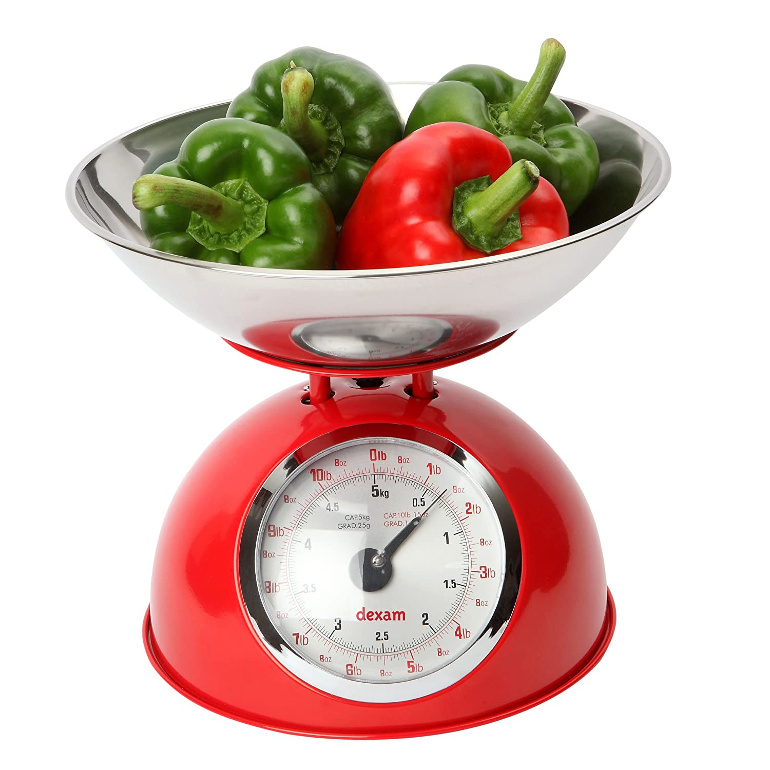 Dexam 5 Kg Stainless Steel Retro Kitchen Scales with a Large Bowl, Red 17848105