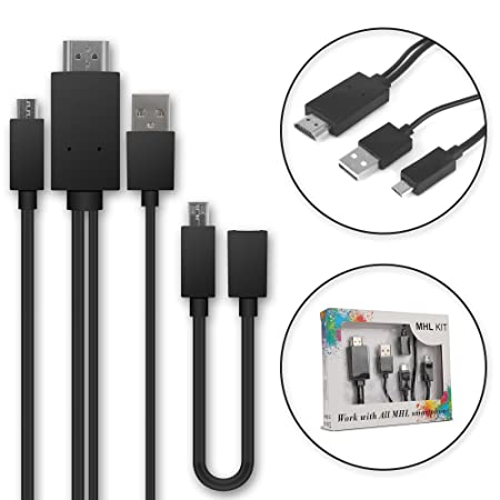 MHL Kabel - Micro-USB auf HDMI-Adapter 5-Pin + 11-pin Adapter für Smartphones und Tablets von zB. Huawei, Sony, Samsung, ZTE