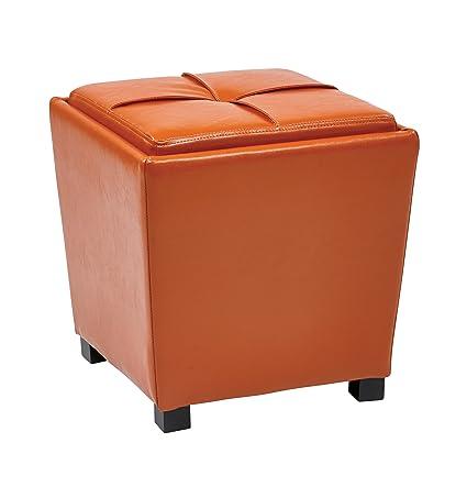 Astonishing Office Star Metro Vinyl 2 Piece Storage Ottoman Nesting Cube Set With Dark Espresso Finished Feet Orange Alphanode Cool Chair Designs And Ideas Alphanodeonline