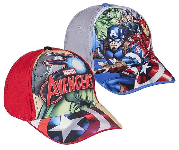Pack 2 gorras de tela adaptables 2 diseños diferentes AVENGERS (Marvel) rojo y gris: Amazon.es: Ropa y accesorios